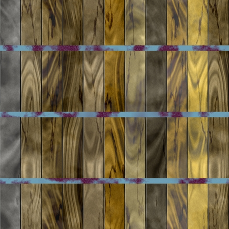 laths: Seamless texture of wooden slats bound with rusty metal tape.- computer generated pattern