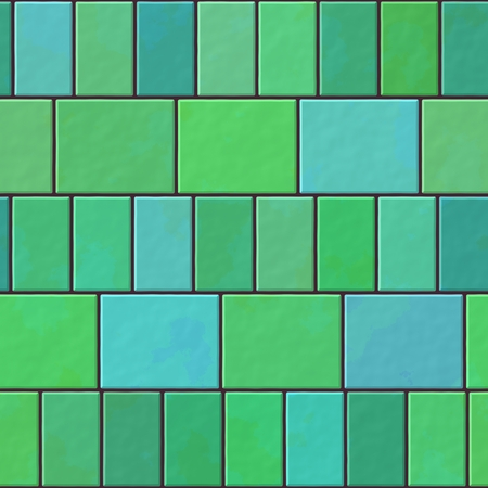paving: Green blue turquoise seamless pattern of paving tiles - digitally rendered design