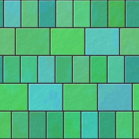 paving tiles: Green blue turquoise seamless pattern of paving tiles - digitally rendered design