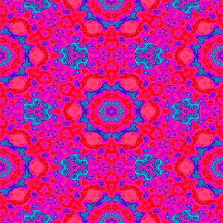 jazzy: Abstract decorative vibrant shocking pink blue regular floral seamless kaleidoscopic pattern Stock Photo