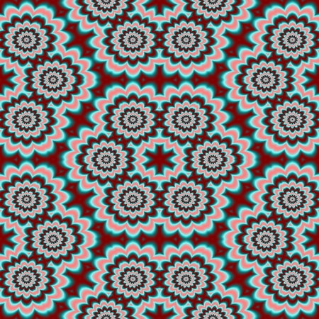 sprockets: Abstract kaleidoscopis turquoise red white seamless pattern with sprockets