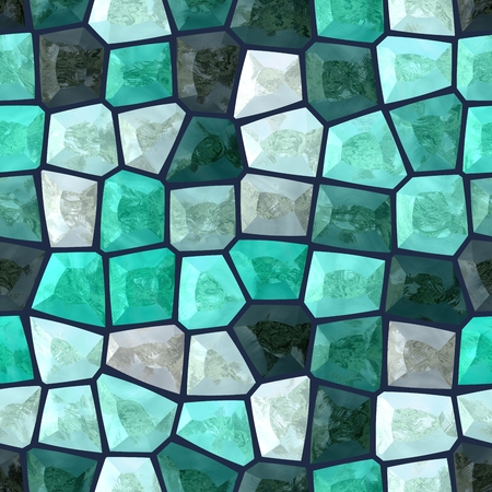 backcloth: Abstract seamless blue turquoise white gray monochrome mosaic pattern Stock Photo