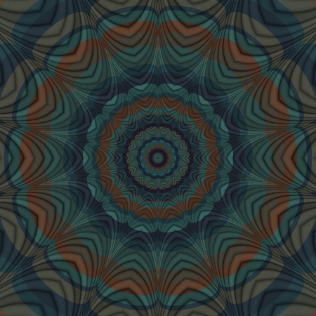 taupe: Decorative floral shining orange petrol blue taupe oriental mandala in retro style - digitally rendered pattern Stock Photo