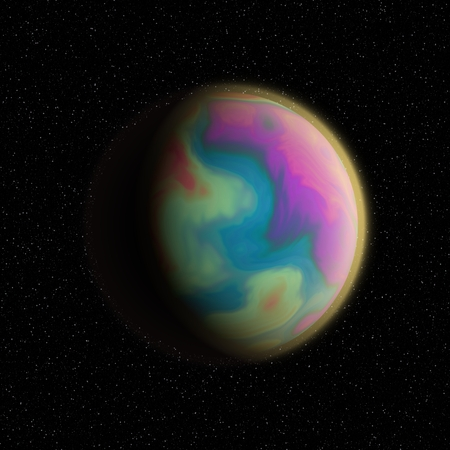 penumbra: Imaginary planet with fractal surface in the penumbra.