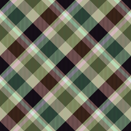 diagonally: Diagonally checkerboard in brown green colors - computer generated seamless pattern Stock Photo