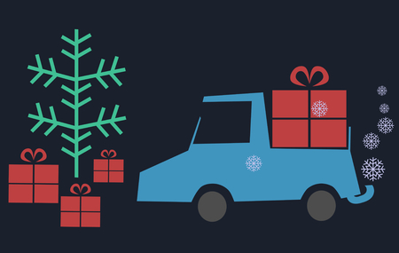 conveniently: Pale blue pickup truck with an open bed carrying a large red package for the Christmas tree, and exhaust out flying snowflakes. Cartoon illustration,