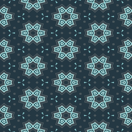 sidebar: Turquoise blue floral decorative geometric seamless pattern