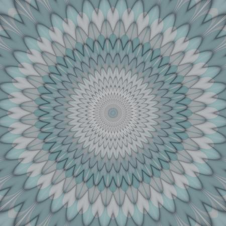 ring tones: Pale smoky gray blue round petal floral mandala Stock Photo