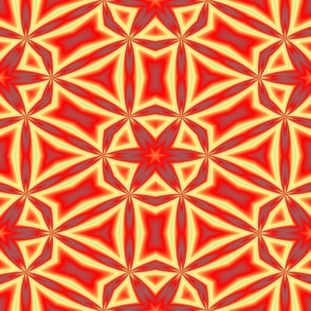 starlit: Red yellow grungy kaleidoscopic seamless retro pattern with six-pointed stars motive