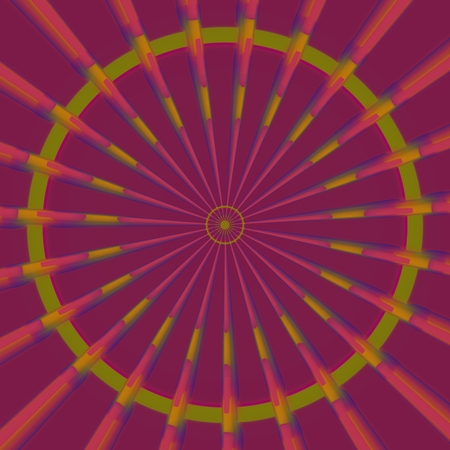fate: Muted red yellow radiant circular pattern - fate wheel or mandala sign Stock Photo