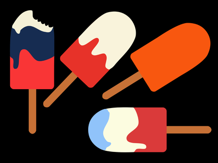 Colorful ice lollies with icing in the colors red, white, blue and orange. Vector flat illustration.