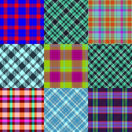 crossover: Abstract patchwork pattern composed of checked and diagonally crossover striped fabrics