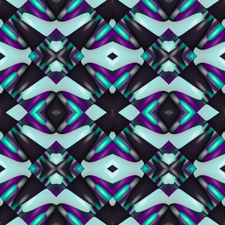 blue violet: Turquoise blue violet black seamless kaleidoscopic pattern Stock Photo