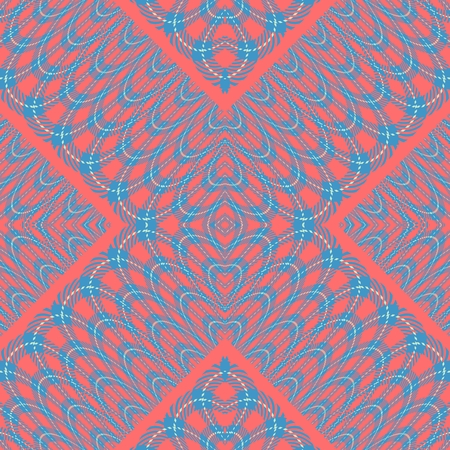 lacy: Abstract orange blue ornamental lacy kaleidoscopic filegree seamless pattern Stock Photo