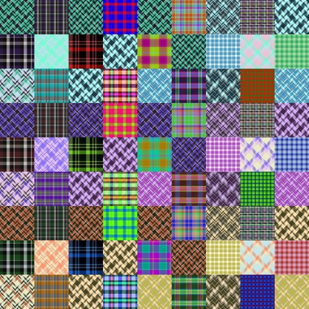 diagonally: Abstract patchwork pattern composed of checked and diagonally crossover striped fabrics