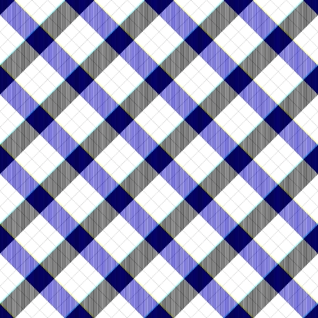 composed: Black white blue seamless diagonally checked plaid pattern composed of crossover stripes