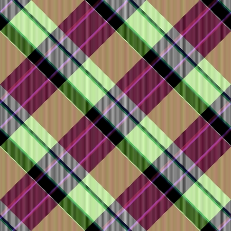 green brown: Abstract yellow lilac red green brown checked crossover striped diagonally seamless pattern