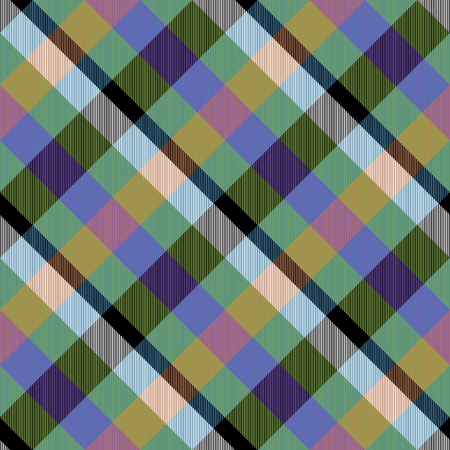 crossover: Abstract black white green violet orange pink checked crossover striped diagonally seamless pattern Stock Photo