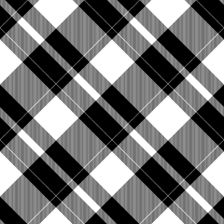 diagonally: Abstract black white checked crossover striped diagonally seamless pattern