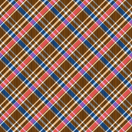 pink and brown: Pink brown yellow blue diagonally striped checked seamless pattern