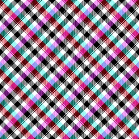 cuadros blanco y negro: Resumen azul púrpura rojo negro blanco a cuadros patrón en diagonal sin fisuras
