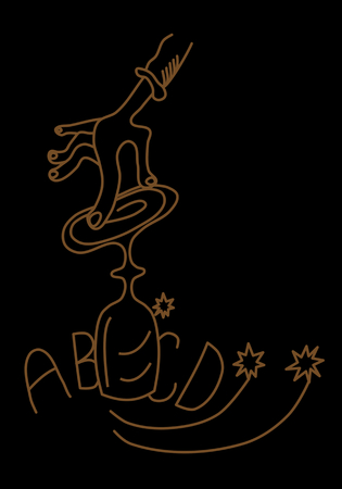 Spiritualistic seance - hand laid gently on an overturned glass, which moves on the pad with letters - simple vector graphic - gold line on black background