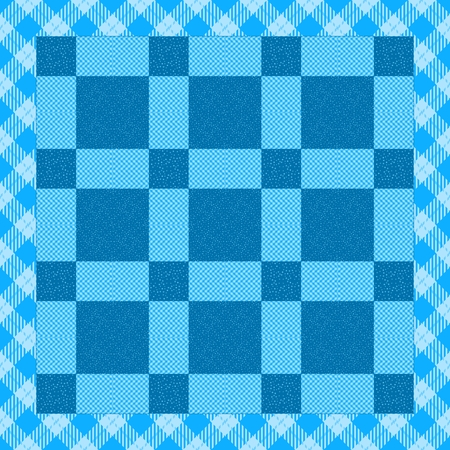 underlay: Regular blue white patchwork pattern with border contains checkered and snowflakes motif - usable too as seamless wallpaper Stock Photo
