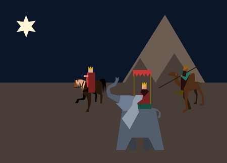 twelfth night: Three wise men from the East wander through the desert on a horse, camel and elephant, following the Star of Bethlehem. Illustration