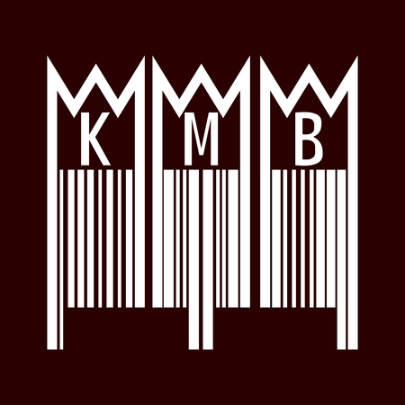 three kings: Traditional Three Kings Carol inscription on the door of the house or rectory, KMB, in the form of a barcode. White pattern on a dark red background. Vector illustration.