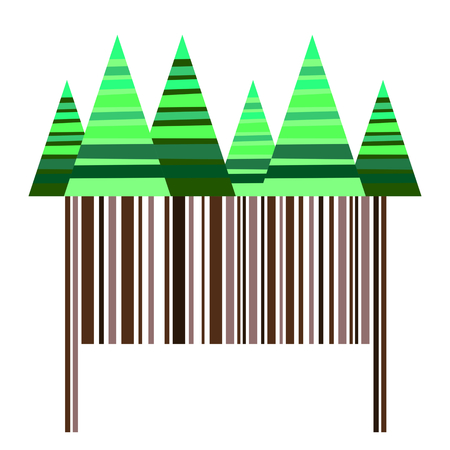 bole: Stylized striped coniferous trees over brown barcode making trunks - simple vector illustration