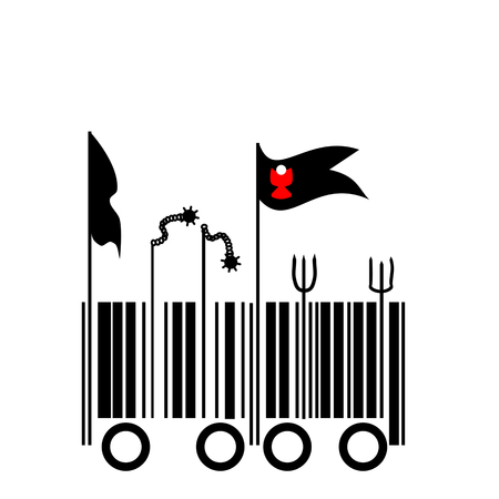 insurrection: Barcode - Peasant revolt - graphic barcode transitioning into Calixtin flags and agricultural tools and weapons Illustration