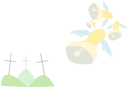 associated: Very bright background with Easter motif - three cross on hills and bells flying to Rome. Superstition associated with the blessing of the bells. Isolated on white background. Illustration
