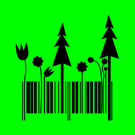 considerate: Barcode changing into forest shape - simple vector illustration on green background