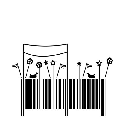 flag banner: Barcode, vector illustration, decorated like a May Day parade in socialist or communist countries.