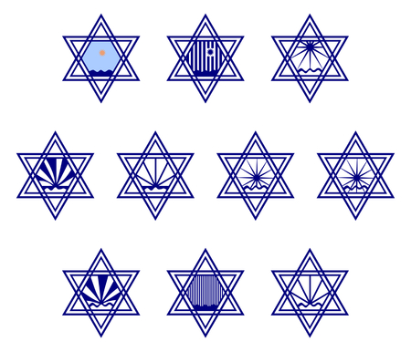 resilience: Character set containing symbols hexagram on the surface of the water and the sun or the rain - blue and white and color - a reference to the West Bank. Graphic design for labeling goods. Illustration