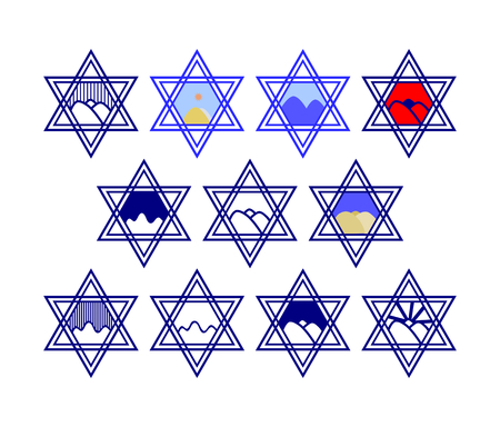 hexagram: Set of characters comprising hexagram symbols and the silhouette of the hills and the sun or the rain - blue and white and color - a reference to the Golan Heights. Graphic design for labeling goods.