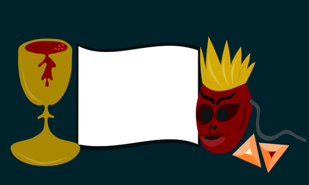 purim carnival: Purim or carnival card with red mask of king with crown, golden cup with wine and traditional triangular cookies. Illustration