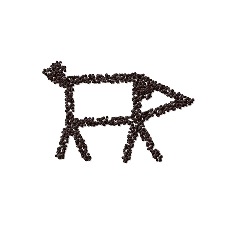 porker: Simple stylized pig drawing composed of roasted coffee beans - digitally rendered illustration isolated on white background Stock Photo