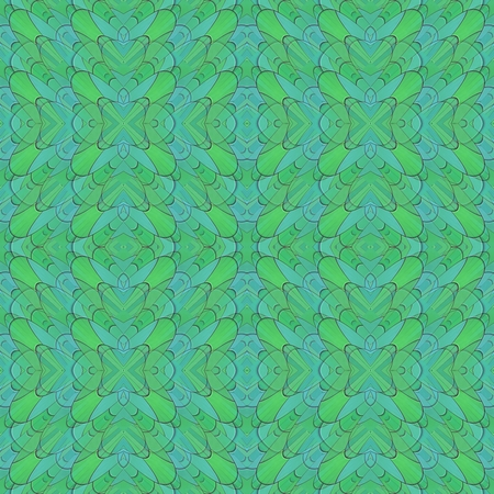 Abstract kaleidoscopic blue green turquoise mosaic seamless pattern