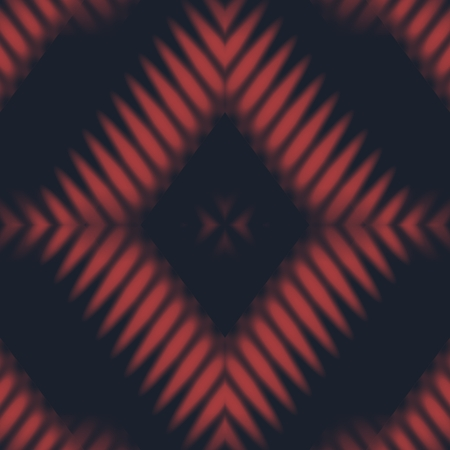Abstract black red rhombic kaleidoscopic mirroring pattern Stock Photo