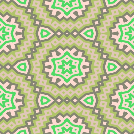 ocher: Abstract decorative ocher green brown white seamless ornamental geometric pattern usable for wrapping paper print - raster graphic Stock Photo