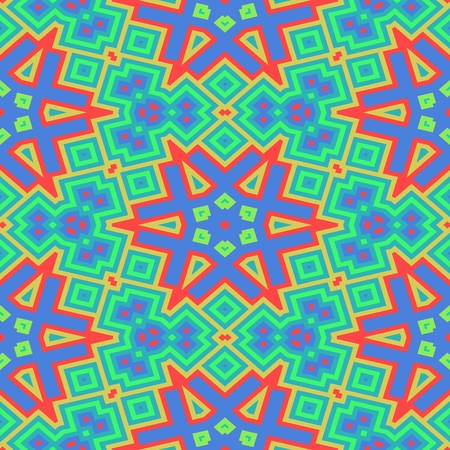 starlit: Abstract shining turquoise blue orange red starry decorative seamless ornamental geometric pattern usable for wrapping paper print - raster graphic