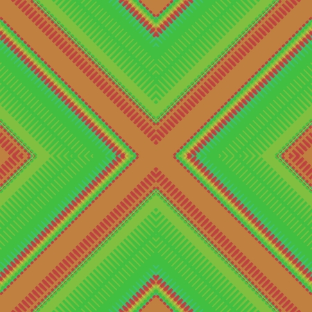 green cross: Abstract orange green cross over striped shining pattern