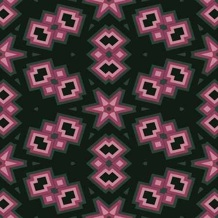 mirroring: Abstract contrast shining purple pink green decorative seamless ornamental geometric pattern usable for wrapping paper print - raster graphic