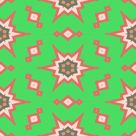 Starry bright green pink beige gray decorative seamless ornamental geometric pattern usable for wrapping paper print - raster graphic