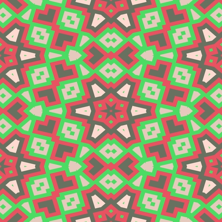 centralized: Abstract red green beige faded decorative seamless ornamental geometric pattern usable for wrapping paper print - raster graphic Stock Photo