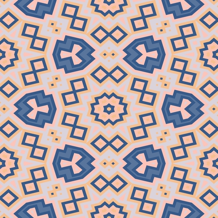 centralized: Abstract kaleidoscopic blue beige gray geometric centralized seamless pattern