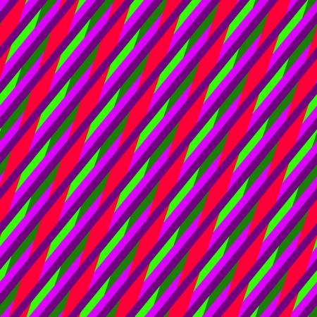 garish: Abstract seamless oblique violet purple red green blue irregular striped pattern