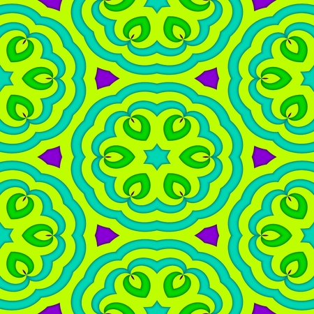 gaudy: Yellow turquoise violet decorative floral seamless pattern