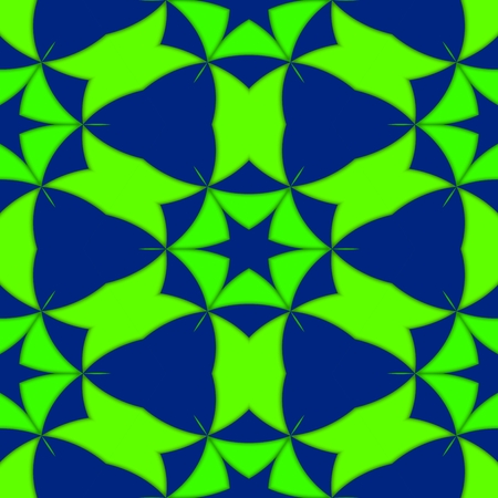 starlit: Kaleidoscopic shining decorative seamless blue green starlit pattern - digitally rendered design Stock Photo